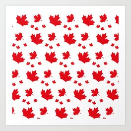Canada Maple Leaf-Large-White Art Print