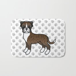 Cute Brindle Boxer Dog Cartoon Illustration Bath Mat