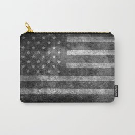 Black and White USA Flag in Grunge Carry-All Pouch
