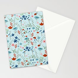 Light Blueish Nature With Mountain Bluebird, Lady Bug And Flowers Stationery Cards