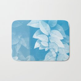 Leaves in Blue Bath Mat