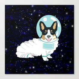 Corgi spacedog astronaut outer space tricolored corgis dog portrait gifts Canvas Print