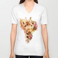 giraffe V-neck T-shirts featuring giraffe by RIZA PEKER