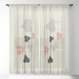 heart map Sheer Curtain