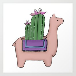 Llama Cactus Art Print