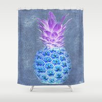 pineapple Shower Curtains featuring Pineapple  by Saundra Myles