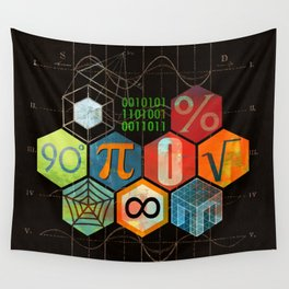 Math Game in black Wall Tapestry