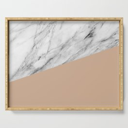 Marble and Hazelnut Color Serving Tray