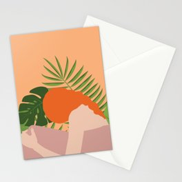 Woman w/ Jungle Leaves Stationery Cards