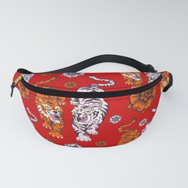 Tiger Neck Gaiter Cool Cats Red Background White Tiger Neck Gator Fanny Pack
