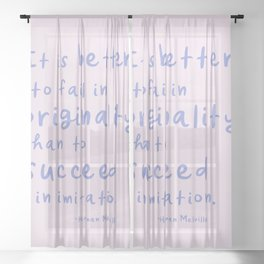 Cute Inspirational Handwritten Quote for Creatives Sheer Curtain
