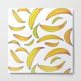 Watercolor bananas - yellow, blue and green Metal Print