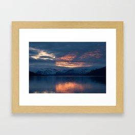 lights on the fjord Framed Art Print
