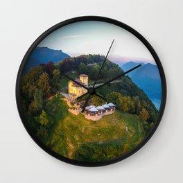 Mount Bre, Lugano, Switzerland Alpine Mountaintop Resort Restaurant lakeside photograph Wall Clock