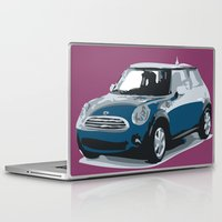 mini cooper Laptop & iPad Skins featuring blue mini cooper beautiful gift for christmas by Acus