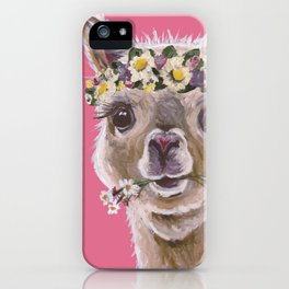 Alpaca Art, Alpaca Flower Crown iPhone Case