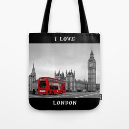 Black and White London with Red Bus Tote Bag