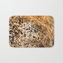 Rustic Country Western Texas Longhorn Cowhide Rodeo Animal Print Bath Mat