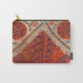 Orange Wildflower Sunshine III // 18th Century Colorful Rusty Red Bright Blue Metallic Happy Pattern Carry-All Pouch