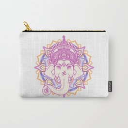 Ganesha elephant god on hand painted mandala Carry-All Pouch