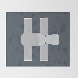 Letter H // Animal Alphabet // Hippo Monogram Throw Blanket