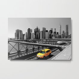 Yellow cab on Brooklyn Bridge, Manhattan, New York, USA. Metal Print