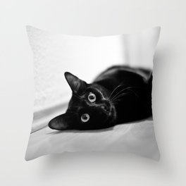 What? asks the cat Throw Pillow