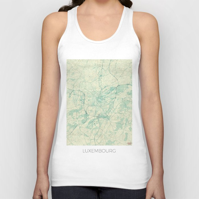 Luxembourg Map Blue Vintage Unisex Tank Top