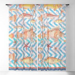 ORANGE FISH Sheer Curtain