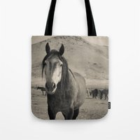 mustang Tote Bags featuring mustang by Michelle Elizabeth