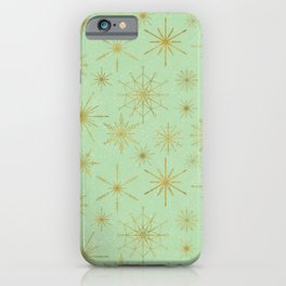 Snowflake Mandalas Mint Green Gold iPhone Case