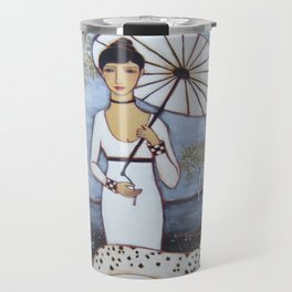 Woman with White Gown, Parasol, Dog and Birch Trees in an Evening Landscape Travel Mug