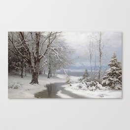 Anders Andersen - Lundby - A Wooded Winter Landscape Canvas Print