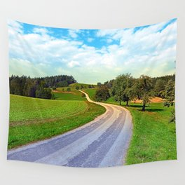 Apple trees along the country road | landscape photography Wall Tapestry