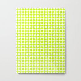 Small Diamonds - White and Fluorescent Yellow Metal Print