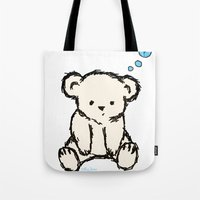 teddy bear Tote Bags featuring Teddy by RaJess