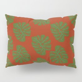 Green Leaves - Seamless Pattern, Red Background Pillow Sham