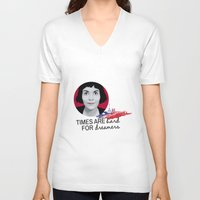 amelie V-neck T-shirts featuring Dreamer Amelie  by MissAtomicBomb