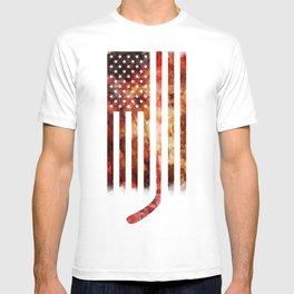 Ice Hockey USA Flag T-shirt