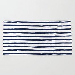 Navy Blue Stripes on White Beach Towel