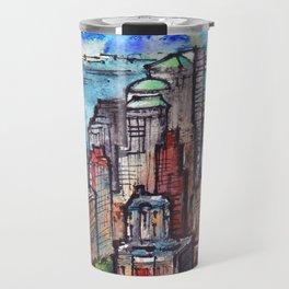 New York ink & watercolor illustration Travel Mug