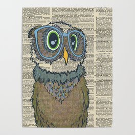 Owl wearing glasses Poster