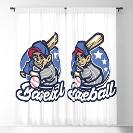 Kid As Baseball Batter Blackout Curtain