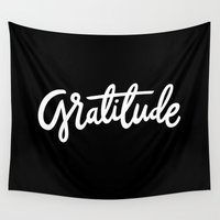 lettering Wall Tapestries featuring Gratitude Lettering by studio v28