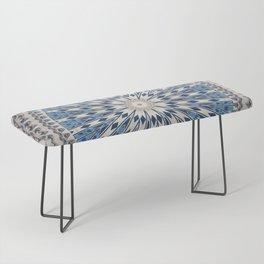Bright Blue Marble Mandala Design Bench