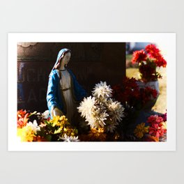 Mary among the flowers Art Print