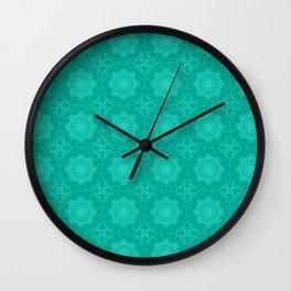 Peacock Green and White Abstract Mandala Tile Wall Clock