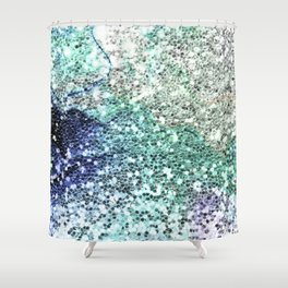 Glitter Sparkling Blue Green Turquoise Teal Patterns Shower Curtain