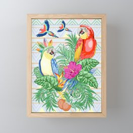 Macaws Parrots Exotic Birds on Tropical Flowers and Leaves Framed Mini Art Print