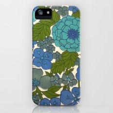 Retro floral sheet blues iPhone (5, 5s) Slim Case